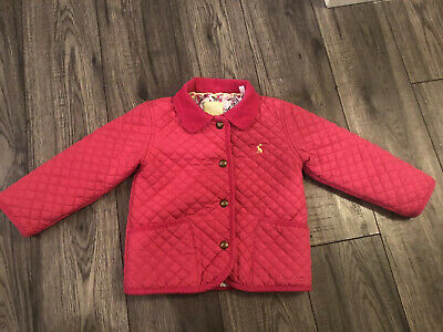 Joules Girls Quilted Padded Pink Jacket Coat Age 2-3