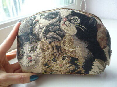 Trousse de toilette/maquillage style gobelin avec chats - Tapestry cosmetic bag