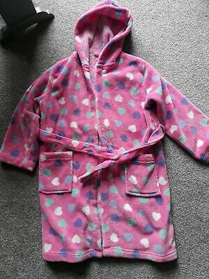 Bluezoo pink love hearts dressing gown age 7-8