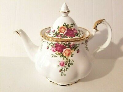 Royal Albert Old Country Roses Teapot With Lid Bone China Gold Trim