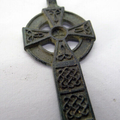Celtic Scandinavian Ancient Artifact Bronze Cross With Celtic Cnot