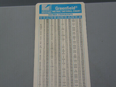 Greenfield Metric Tap / Drill Chart Decimal Equivalents Data Guide Card