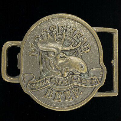 Moosehead Canadian Lager Beer Drinking Drinker Bar Canada 80s Vtg Belt Buckle