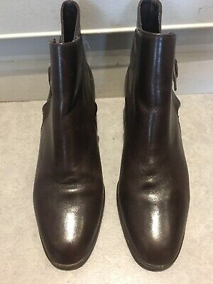 """Vintage Brown Saxon Leather Buckle Ankle Boots 1.75"""" Heel Size 5 Used Rarely"""