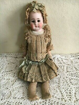 "Belton 14"" French Bisque Doll 309 5 Antique Closed Mouth Original Clothes Blue"