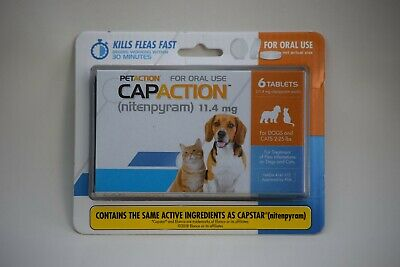 Petaction CAPACTION 6 tablets Kills Fleas Dogs and Cats 2 to 25 lbs New Sealed
