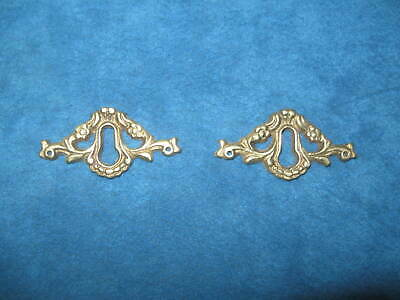 2- Vintage NOS Ornate Cast Solid Brass KEYHOLE COVER PLATES..Never Used