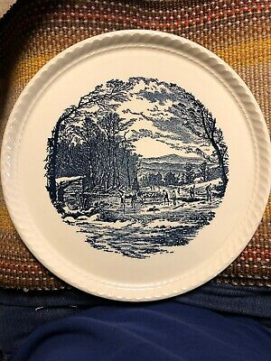 Vintage Royal China Blue and White Currier & Ives Cake plate  Getting Ice