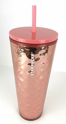 Starbucks Holiday 2019 Rose Gold Mirror Hammered Tumbler Cold Cup 24oz Christmas