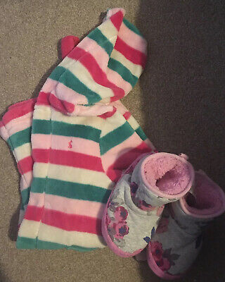 Joules Age 3-4 Dressing Gown And Slippers Bundle