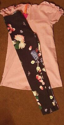 BNWT Girls 🎀Ted Baker🎀 Lilac Tip And Black Floral🌸 Leggings Set New 8-9yrs