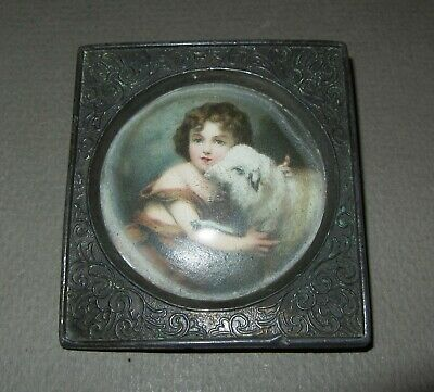 miniature old antique small painting on porcelain in brass frame ?? Child & lamb