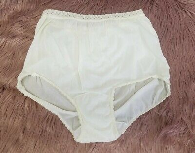 Vintage Nylon High Waisted Granny Panties size 9 Large XL Pale Yellow Carole
