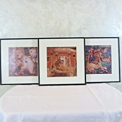 3 India Cave Paintings Framed Prints Pink Elephant Geese Amorous Palace Scene