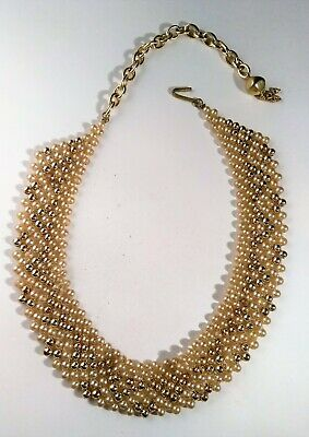Vintage Pearl Bead Choker Necklace Ivory Cream Gold Tone Wedding Prom Dress Up