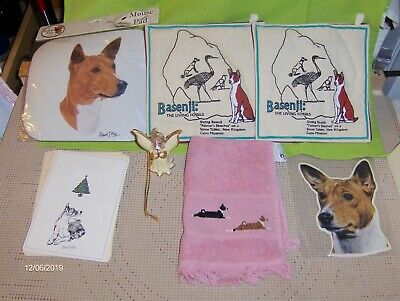 Collection of BASENJI ITEMS: Hot pads, Mousepad. Ornament, Needlework, Cookbook
