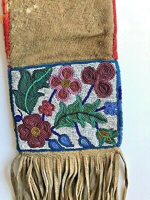 Old 19th Century Native American Beaded Tobacco Bag