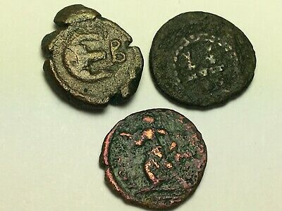 ANCIENT AUTH. 3 RARE Coins; 1 BYZANTINE 565 AD. 2 ROMAN 307 AD. WREATH & VICTORY