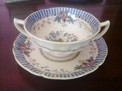 Antique Royal Doulton The Vernon Handled Cream Soup Bowl with Underplate