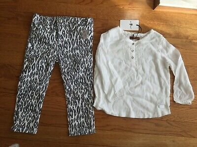 $59 NWT Baby 7 For All Mankind Logo Outfit Blouse Top Pants 2pc Set 24m White
