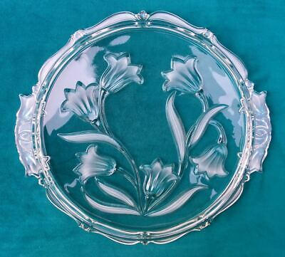 Handled Cake Plate Walther Crystal Glass Mikasa Frosted Embossed Floral