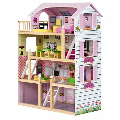Pink Doll Cottage Dollhouse w/ Furniture Kids Wooden House Playset Children Toy