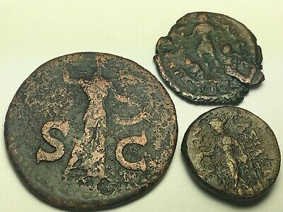 ANCIENT AUTH. 3 RARE$ Coins; 1 GREEK 400 BC & 2 ROMAN; CLAUDIUS 41 AD & DRAGGING