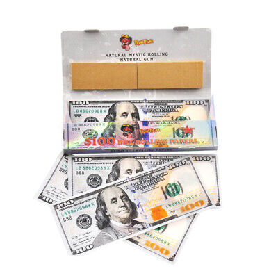 24Packs $100 Dollar Bill 110MM Smoking Cigarette Rolling Papers with Filter Tips