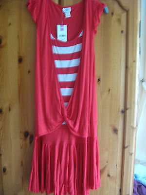 NEW GIRLS CLOTHES M&Co KYLIE RED DRESS STRIPE INSERT 146 CMS AGE 11 YEARS BNWT