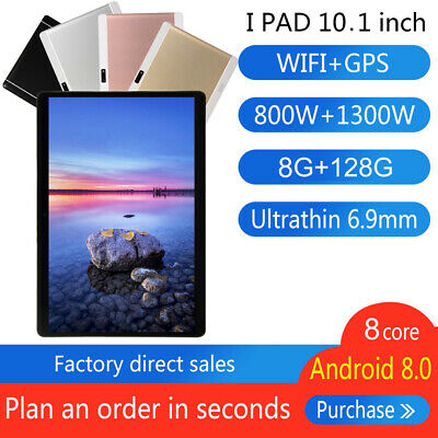 "10.1"" Inch Tablet PC HD Android 8.0 8+128GB Octa-Core WIFI Dual SIM Camera GPS"
