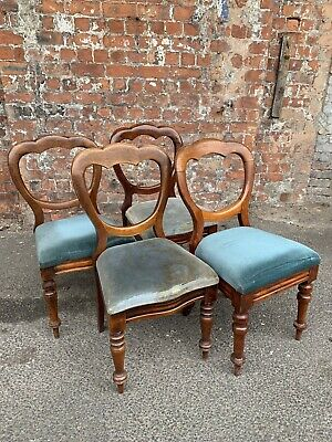 Set Of Four Antique Victorian Mahogany Balloon-Back Dining Chairs For Project