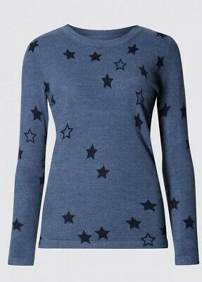 Nwot M&S Marks And Spencer Blue Soft Knit Star Print Cosy Jumper Size 24