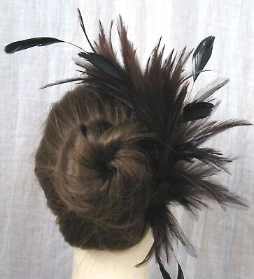 brown feather comb fascinator millinery wedding hat