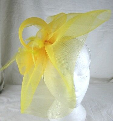 yellow feather headband fascinator millinery wedding ascot hat hair piece x