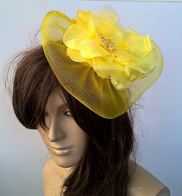 yellow satin flower fascinator millinery burlesque wedding hat bridal race x