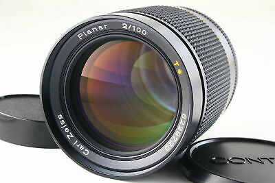 [AB- Exc] CONTAX Carl Zeiss Planar 100mm f/2 T* AEG Lens w/Caps From JAPAN 6080