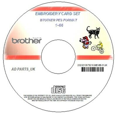 Embroidery Designs Brother Cards 1- 66 Dvd Disc Pes & Software