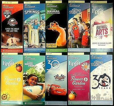 Walt Disney World Theme Park Guide Maps - Retired, Collectible 62 Maps 7 Passpts