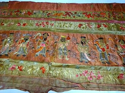 A Rare and Old Antique Chinese Silk Embroidery Banner Textile Eight Immortals
