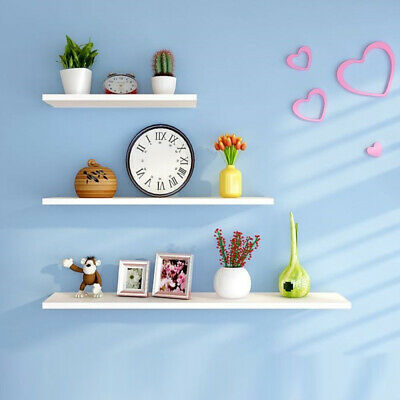 Wooden Floating Wall Mount Shelves Display Unit High Gloss MDF Shelf DVD Storage