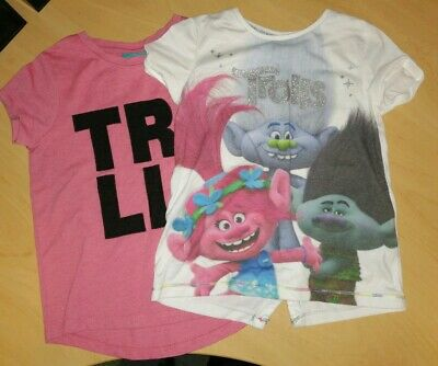 2 X Girls Trolls T-shirt Age 4 - 5 Years Great Condition