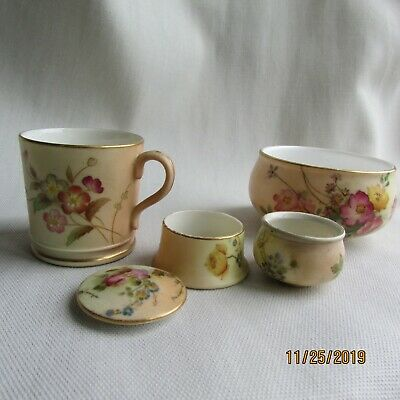 antique royal Worcester blush ivory pots and cup