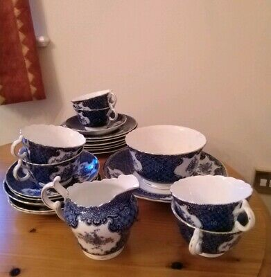 Blue & White 21 piece Old China Tea Set