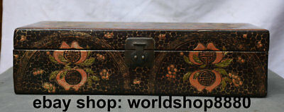 "17""Collect Chinese Old antique lacquerware Wood Two Dragon Play Bead Jewelry box"