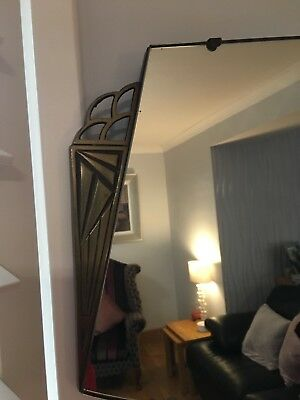 💝💝 Art Deco Mirror- Frameless Bevelled Edge With Brass Edging 💝💝