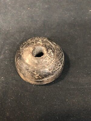 Ancient Pre-Columbian Aztec Artifact Carved Stone Bead (mm1474)
