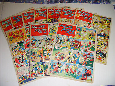 MICKEY MOUSE WEEKLY COMICS x 10 - ALL 1952 - DATES BELOW