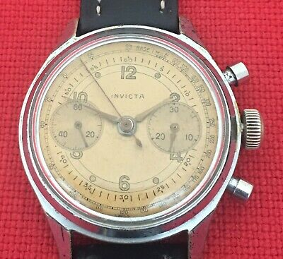 1940's VINTAGE INVICTA CHRONOGRAPH WRISTWATCH LANDERON MOVT. SEELAND WATCH CASE