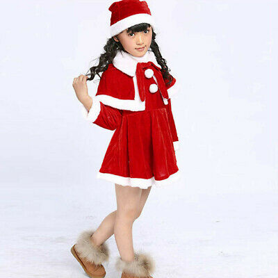 Toddler Baby Kids Girls Christmas Party Costume Dress+Shawl+Hat Outfit Clothes