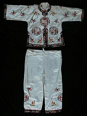 Vintage Pair Of Chinese Embroidered Silk (Small)  Coat / Jacket And Trousers